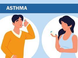 asmático homem mulher vetor