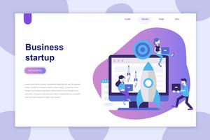 Conceito moderno design plano de Business Startup para site e site móvel. Modelo de página de destino. Pode usar para banner web, infográficos, imagens de herói. Ilustração vetorial.