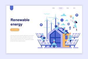 Modelo de página de destino do conceito de design plano moderno de energia renovável. Aprendizagem e conceito de pessoas. Ilustração em vetor plana conceitual para a página da web, site e site móvel.