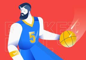 Ilustração em vetor dribling bola basquete jogador