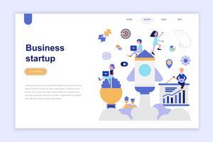 Modelo de página de aterrissagem do conceito de design plano moderno de inicialização de negócios. Aprendizagem e conceito de pessoas. Ilustração em vetor plana conceitual para a página da web, site e site móvel.