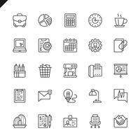 Os ícones finos do escritório da linha ajustaram-se para o Web site e local móvel e apps. Design de ícones de contorno. 48x48 Pixel Perfeito. Pacote de pictograma linear. Ilustração vetorial. vetor