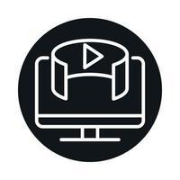 Bloco virtual digital de tecnologia de computador de 360 graus e design de ícone de estilo de linha vetor