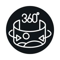 360 imagens de visualização de imagens panorâmicas e design de ícones de estilo de linha vetor
