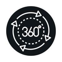 Visualização de 360 graus do bloco da esfera do tour virtual e design do ícone de estilo de linha vetor