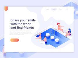Modelo de página de destino de relacionamento, namoro on-line e o conceito de rede social. Conceito 3D isométrico de design de página da web para o site e site móvel. Ilustração vetorial.
