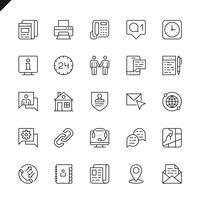 Linha fina entre em contato conosco conjunto de ícones para sites e aplicativos e sites para dispositivos móveis. Design de ícones de contorno. 48x48 Pixel Perfeito. Pacote de pictograma linear. Ilustração vetorial.