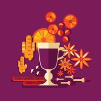 Vinho quente com laranja, paus de canela, anis em fundo violeta