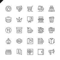 Shoppings linha fina, ícones de varejo definido para site e site móvel e aplicativos. Design de ícones de contorno. 48x48 Pixel Perfeito. Pacote de pictograma linear. Ilustração vetorial.