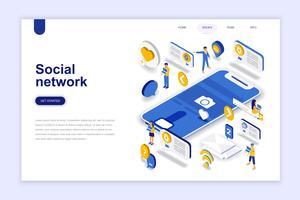 Conceito isométrica de design plano moderno de rede social. Conceito de comunicação e pessoas. Modelo de página de destino. Ilustração isométrica conceptual do vetor para a Web e o projeto gráfico.