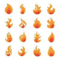 conjunto de ícones de design plano de chama de fogo queimando brilho quente vetor