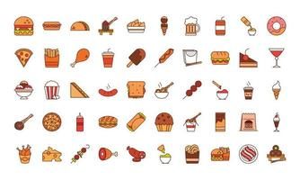 jantar de fast food e menu refeição saborosa e ícones de almoço de restaurante insalubre definir linha e estilo de preenchimento vetor