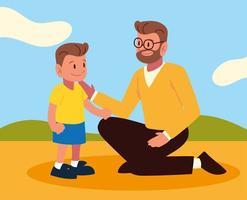 pai e filho juntos vetor