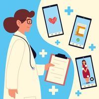 médico telemedicina online vetor