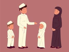 família árabe muçulmana vetor
