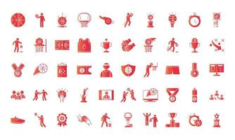 jogo de basquete recreação esporte conjunto de ícones de estilo gradiente vetor