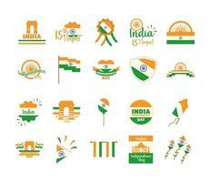 Feliz Dia da Independência, Índia, celebração de liberdade, ícones nacionais definir estilo simples vetor
