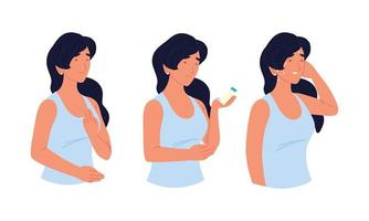 mulher doente asma vetor