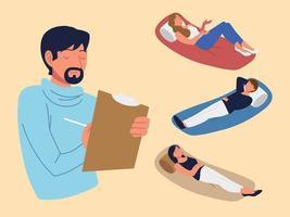 Pacientes psicólogos masculinos vetor