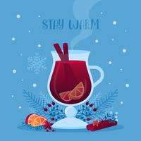 Ilustração em vetor de vinho quente com vidro