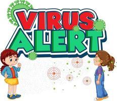 fonte de alerta de vírus em estilo cartoon com uma garota olhando para a amiga espirrando isolado no fundo branco vetor