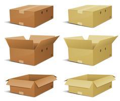 Conjunto de entrega de caixa de papelão vetor