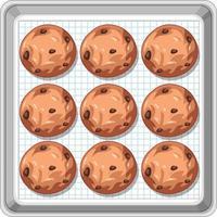 vista superior de biscoitos de chocolate na bandeja vetor