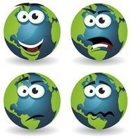 Emoções de ícones de terra dos desenhos animados vetor