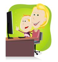 Mãe e filho surfando na net vetor