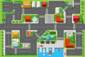 vista de cima de uma rodovia na cidade com casas vetor