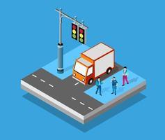 Cruzamento isométrico intersecção de ruas de rodovias vetor