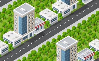 mapa de padrão de plano urbano sem costura. paisagem isométrica vetor