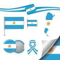 bandeira da argentina com elementos vetor