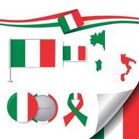 bandeira da itália com elementos vetor
