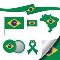 bandeira do brasil com elementos vetor