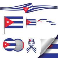 bandeira de cuba com elementos vetor