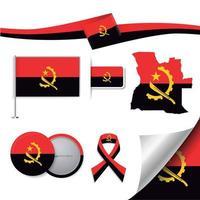 bandeira de angola com elementos vetor