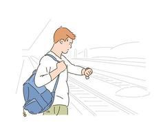 um homem olha para o relógio enquanto espera o metrô. mão desenhada estilo ilustrações vetoriais. vetor