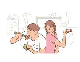 o namorado está gostando da carne e sua namorada está olhando para ele. mão desenhada estilo ilustrações vetoriais. vetor