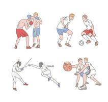 jogadores de boxe, futebol, esgrima e basquete estão jogando. mão desenhada estilo ilustrações vetoriais. vetor
