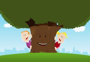 Crianças felizes e árvore amigável