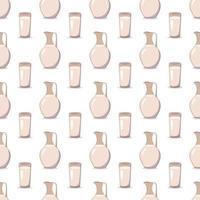 padrão sem emenda com uma jarra e um copo com leite. imprima com kefir ou outro líquido. produtos agrícolas ricos em vitaminas e cálcio no fundo vetor