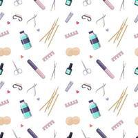 padrão sem emenda com um frasco de esmaltes e ferramentas de manicure. impressão bonita para salão de beleza e mestre de moda. cuidados com a saúde das mãos vetor