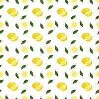 Primavera brilhante sem costura e padrão de verão com limão e fatias em um fundo branco. um conjunto de frutas cítricas para um estilo de vida saudável vetor