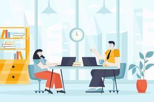 conceito de espaço de coworking em ilustração vetorial de design plano vetor