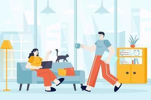 conceito freelance em ilustração vetorial de design plano vetor
