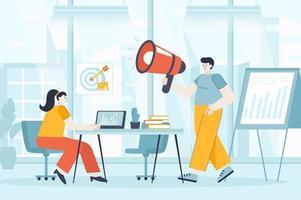 conceito de marketing digital em ilustração vetorial de design plano vetor