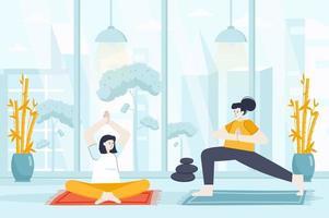 conceito de ioga em ilustração vetorial de design plano vetor