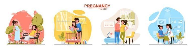 conjunto de cenas de conceito de design plano de gravidez vetor