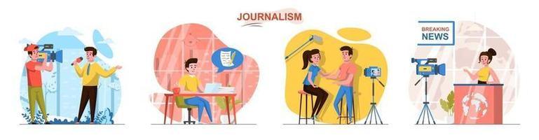 conjunto de cenas de conceito de design plano de jornalismo vetor
